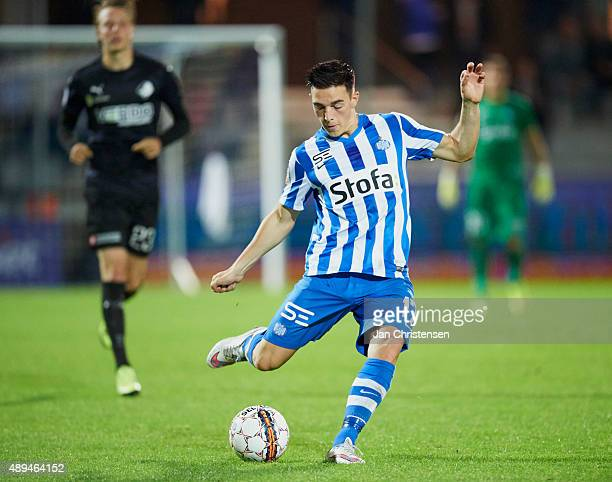 Casper Nielsen of Esbjerg fB in action during the Danish Alka Superliga match between Esbjerg fB and Randers FC at Blue Water Arena on September 21...