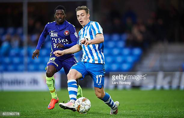 Casper Nielsen of Esbjerg fB in action during the Danish Alka Superliga match between Esbjerg fB and FC Midtjylland at Blue Water Arena on April 18...