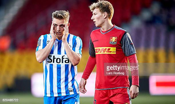 Casper Nielsen of Esbjerg fB leaves the pitch injured during the Danish Alka Superliga match between FC Nordsjalland and Esbjerg fB at Farum Park on...