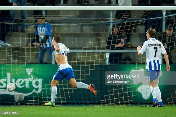 Casper Nielsen of OB Odense celebrate after his 10 goal during the Danish Alka Superliga match between OB Odense and AaB Aalborg at TREFOR Park on...