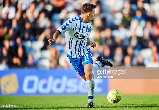Casper Nielsen of OB Odense controls the ball during the Danish Alka Superliga match between OB Odense and FC Nordsjalland at EWII Park on July 17...