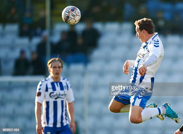 Casper Nielsen of OB Odense in action during the Danish Alka Superliga match between OB Odense and Randers FC at EWII Park on April 18 2017 in Odense...