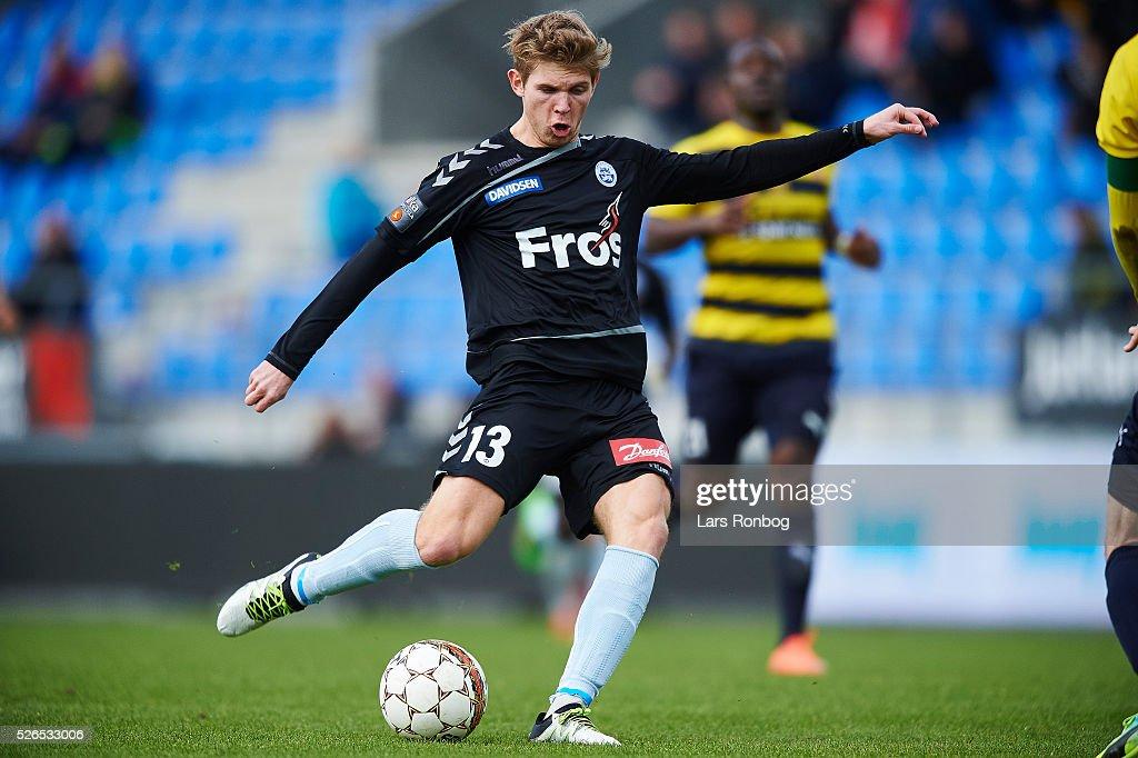 Casper Olesen of Sonderjyske in action during the Danish Alka Superliga match between Hobro IK and Sonderjyske at DS Arena on April 30, 2016 in Hobro, Denmark.