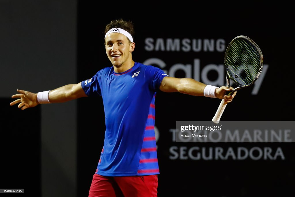 Casper Ruud of Norway celebrates a victory against Thiago Monteiro of Brazil during the quarter finals of the ATP Rio Open 2017 at Jockey Club Brasileiro on February 24, 2017 in Rio de Janeiro, Brazil.