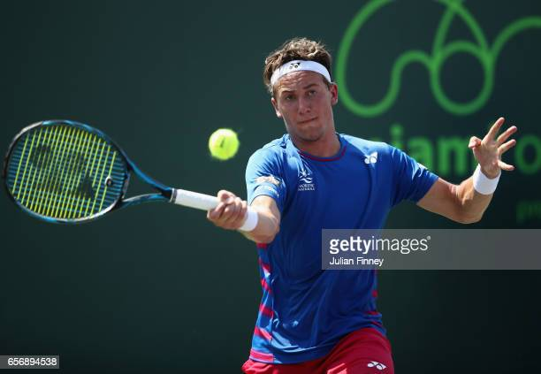 Casper Ruud of Norway in action against YenHsun Lu of Taipei at Crandon Park Tennis Center on March 23 2017 in Key Biscayne Florida