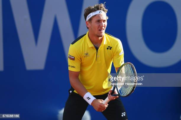 Casper Ruud of Norway looks on at his first round match against Philipp Kohlschreiber of Germany during the 102 BMW Open by FWU at Iphitos tennis...