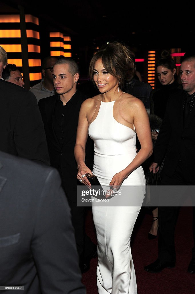 Casper Smart and actress Jennifer Lopez arrive for the premiere of FlimDistrict's 'Parker' at the Planet Hollywood Resort & Casino on January 24, 2013 in Las Vegas, Nevada.