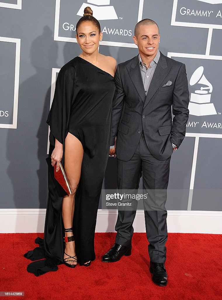 Casper Smart and Jennifer Lopez arrives at the The 55th Annual GRAMMY Awards on February 10, 2013 in Los Angeles, California.