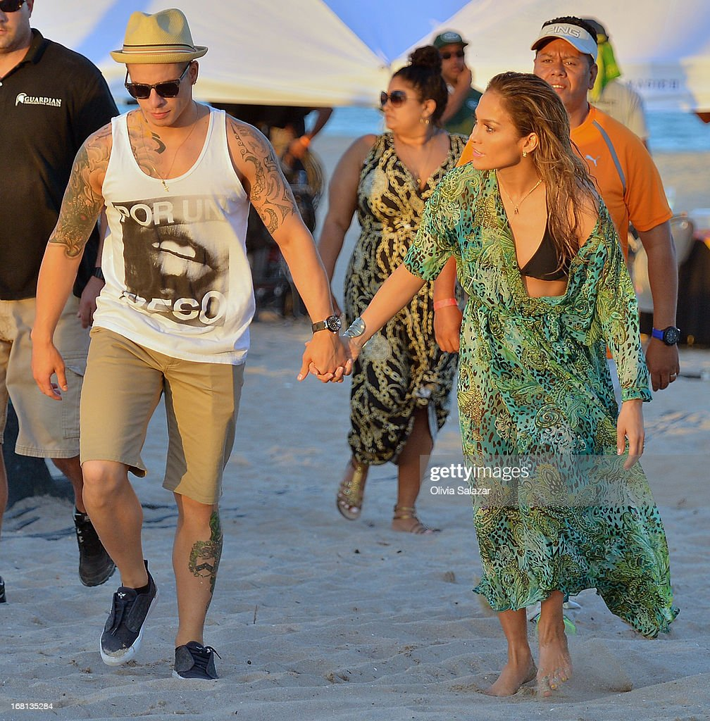 Casper Smart and Jennifer Lopez shoot a video on May 5, 2013 in Fort Lauderdale, Florida.