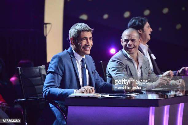 Casper Smart and Johnny Lozada at taping for Mira Quien Baila at Univision Studios on October 1 2017 in Miami Florida