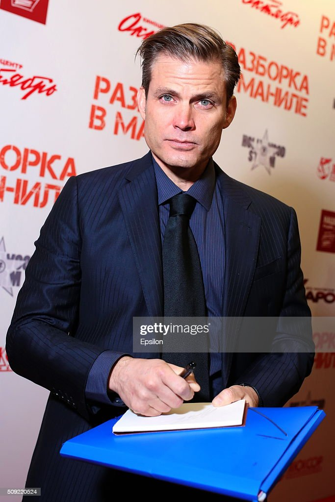<a gi-track='captionPersonalityLinkClicked' href=/galleries/search?phrase=Casper+Van+Dien&family=editorial&specificpeople=220662 ng-click='$event.stopPropagation()'>Casper Van Dien</a> attends 'Showdown in Manila' premiere in October cinema hall on February 9, 2016 in Moscow, Russia.