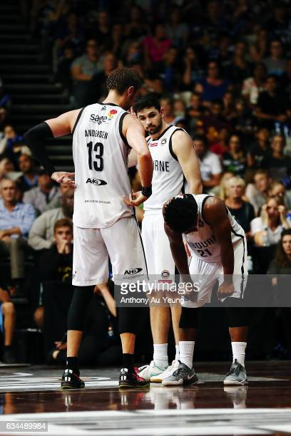 Casper Ware David Anderson and Todd Blanchfield of United look on during the round 19 NBL match between the New Zealand Breakers and Melbourne United...
