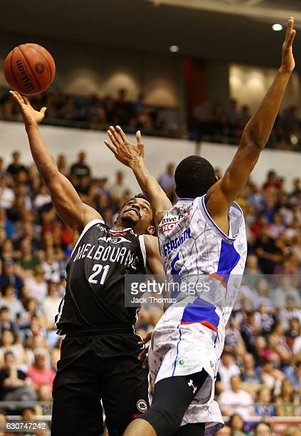 Casper Ware Jr of Melbourne United shoots the ball over Terrance Ferguson of the Adelaide 36ers during the round 13 NBL match between Melbourne and...