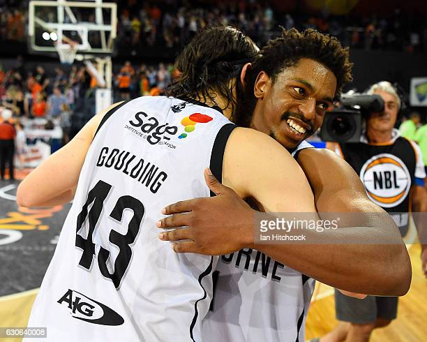 Casper Ware of Melbourne United and Chris Goulding of Melbourne United celebrate after winning the round 13 NBL match between Cairns and Melbourne on...