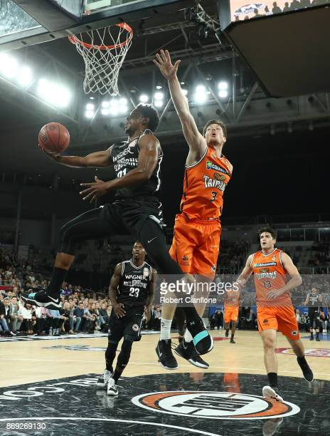 Casper Ware of the Melbourne United gets up to score during the round five NBL match between Melbourne United and the Cairns Taipans at Hisense Arena...