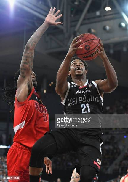 Casper Ware of United drives to the basket during the round 19 NBL match between Melbourne United and the Perth Wildcats at Hisense Arena on February...