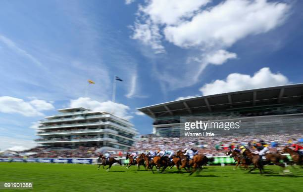 Caspian Prince ridden by Tom Eaves wins the Investec Corporate Banking 'Dash' Handicapduring during the Investec Derby Day at Epsom Downs Racecourse...
