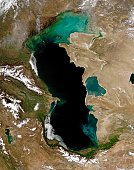 'The Caspian Sea is a wash in color in this Moderate Resolution Imaging Spectroradiometer (MODIS) image taken on April 9, 2004, by the Aqua satellite. The bright colors are probably caused by sediment