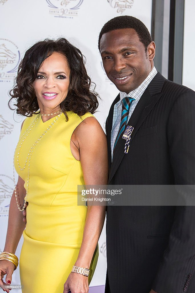 Cassandra Johnson and Avery Johnson arrive at the 30th Annual Breeder's Cup 'Songs in the Saddle' concert at Santa Anita Park Racetrack on November 2...