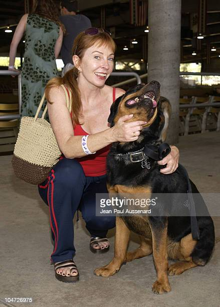 Cassandra Peterson her Rotweiler Mina during Festival of the Animals A pet fair to benefit Animal Rescue Organisations at The Equestrian Center in...