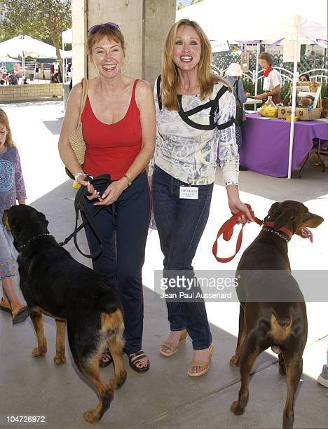 Cassandra Peterson Tanya Roberts with their dogs