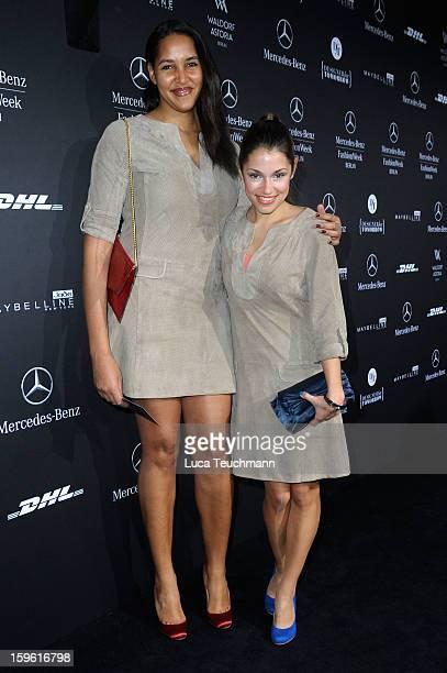 Cassandra Steen and Anna Julia Kapfelsberger attends the Laurel Autumn/Winter 2013/14 fashion show during MercedesBenz Fashion Week Berlin at...