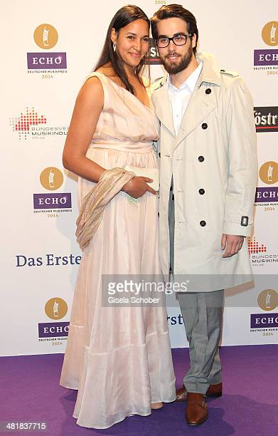 Cassandra Steen and her boyfriend Stephan pose on the red carpet prior the Echo award 2014 at Messe Berlin on March 27 2014 in Berlin Germany