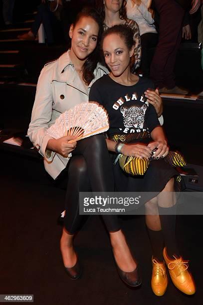 Cassandra Steen and Milka Loff Fernandes attend the Glaw show during MercedesBenz Fashion Week Autumn/Winter 2014/15 at Brandenburg Gate on January...