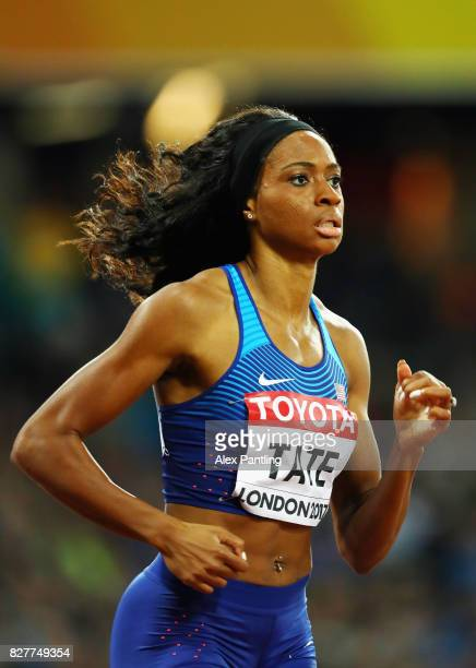 Cassandra Tate of the United States competes in the Women's 400 metres hurdles semi finals during day five of the 16th IAAF World Athletics...