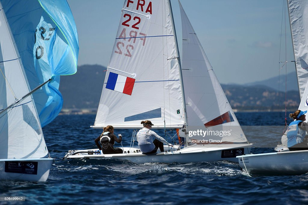 Cassandre Blandin and Aloise Retornaz of France compete in the women's race boat 470 during the Sailing World Cup on April 30, 2016 in Hyeres, France.
