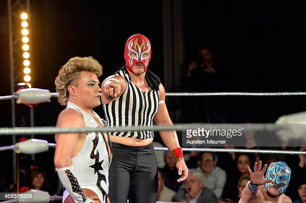 Cassandro El Exotico and Niebla Roja perform onstage during the EXOTICOS VS LUCHADORES Lucha Libre Show hosted by La Fondation Cartier in Paris on...