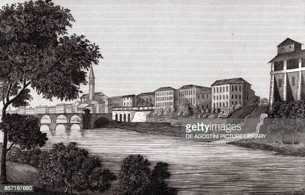 Cassano d'Adda bridge Lombardy Italy copper engraving 281x18 cm from Corografia fisica storica e statistica dell'Italia e delle sue isole by Attilio...