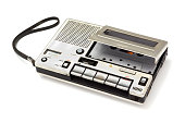 old cassette Tape player and recorder with audio cassette inside on white background