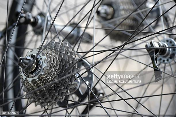 Cassettes of wheels of bikes of the Spain's Movistar cycling team are pictured at their hotel during a rest day as part of the 102nd edition of the...