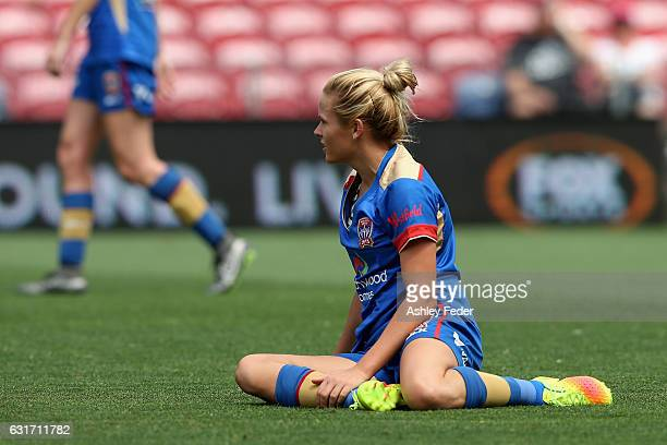 Cassidy Davis of the Jets lays on the ground during the round 12 WLeague match between the Newcastle Jets and the Brisbane Roar at McDonald Jones...