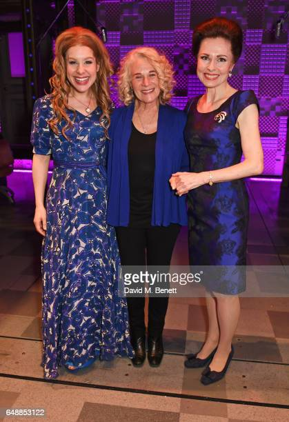 Cassidy Janson Carole King and Barbara Drennan pose backstage after Carole King surprised the West End cast of 'Beautiful The Carole King Musical' at...