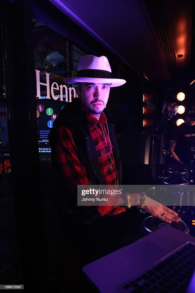 DJ Cassidy spins at Hennessy vs Introduces Nas As Newest Partner at R Lounge at the Renaissance New York Times Square Hotel on January 15, 2013 in New York City.