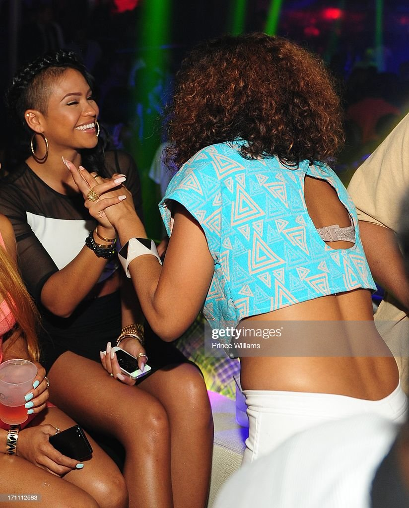 Cassie and Keri Hilson attend a party hosted by Fabolous and Cassie at Prive on June 21, 2013 in Atlanta, Georgia.