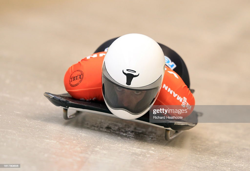 Cassie Hawrysh of Canada launches herself down the track during the Women's Skeleton Viessman FIBT Bob & Skeleton World Cup at the Sanki Sliding Center in Krasnya Polyana on February 16, 2013 in Sochi, Russia. Sochi is preparing for the 2014 Winter Olympics with test events across the venues.