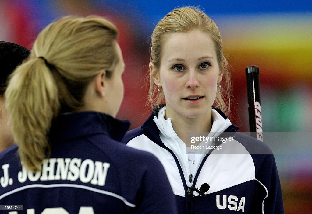 Cassie Johnson and her sister Jamie of the United States during the preliminary round of the women's curling between Denmark and USA during Day 5 of...