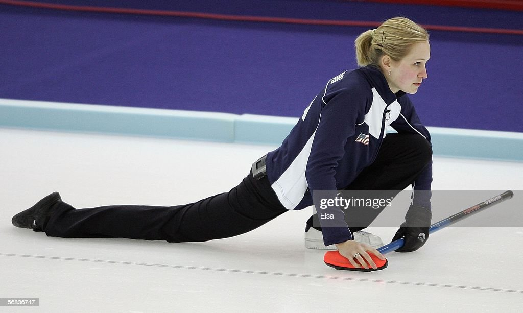 Cassie Johnson of the United States watches the stone during the preliminary round of the women's curling between Norway and the United States during...