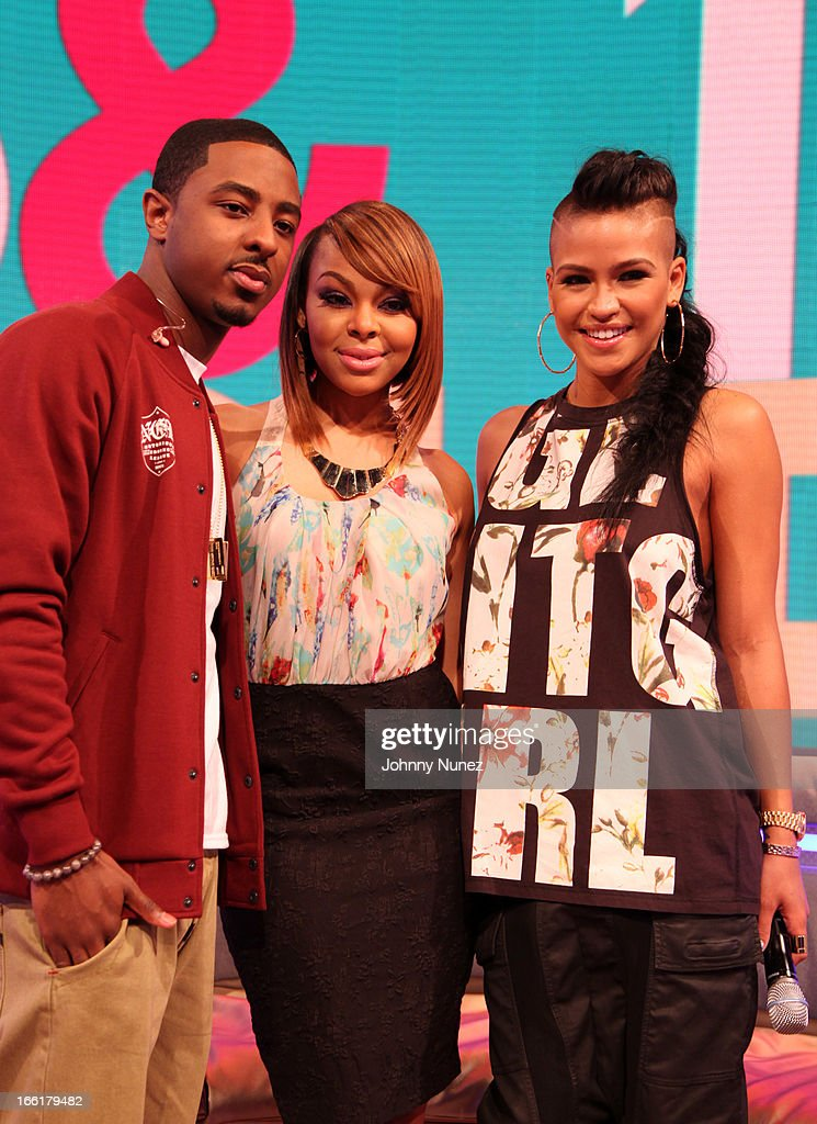 Cassie (r) visits BET's 106 & Park with hosts Shorty Da Prince (L) and Paigion (c) at BET Studios on April 8, 2013, in New York City.