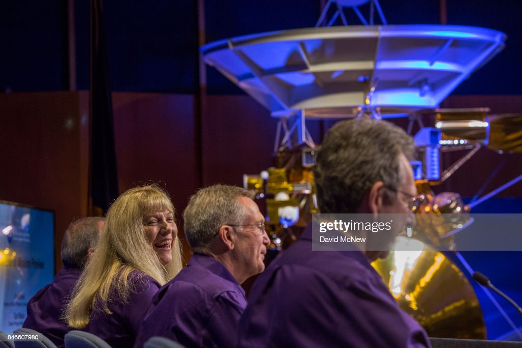Cassini Project Scientist, Linda Spilker (L), Cassini Project Manager, Earl Maize, and Director of Planetary Science, NASA, Jim Green (R), address a news conference at Jet Propulsion Laboratory (JPL) as NASA's Cassini spacecraft nears the end of its 20-year mission by crashing into Saturn, on September 13, 2017 in Pasadena, California. It took Cassini seven years to reach Saturn after its 1997 launch where it has been exploring the ringed planet and its many moons for the past 13 years. It will continue to transmit data and never before seen photos to Earth for as long as possible before breaking up and crashing.