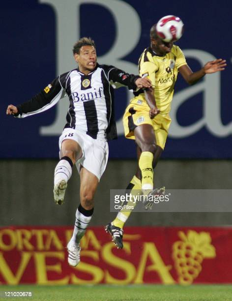 Cassio and Cisse during the Portuguese League match between Nacional da Madeira and Boavista in Funchal Portugal on March 16 2007