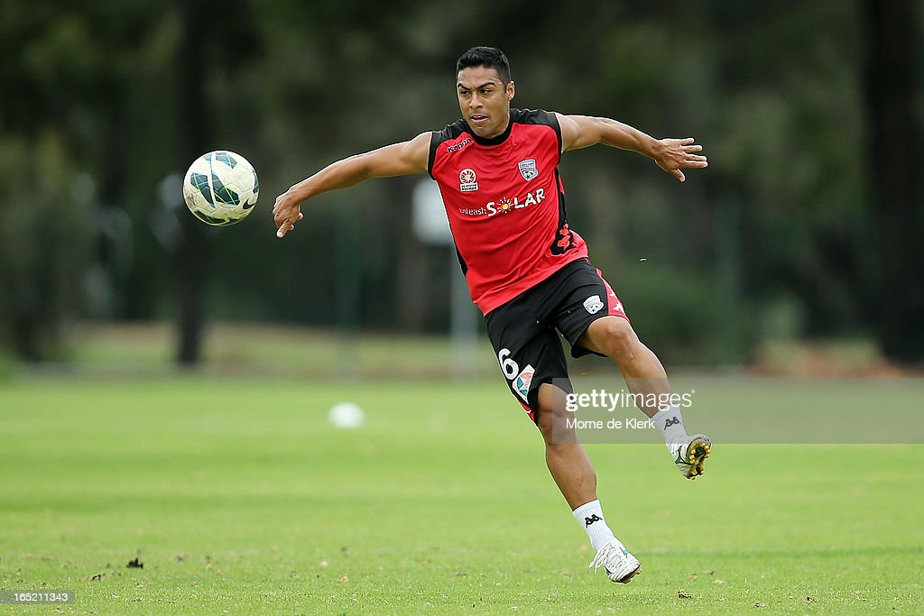 Cassio collects the ball during an Adelaide United A-League training session at the South Australian Sports Institute on April 2, 2013 in Adelaide, Australia.