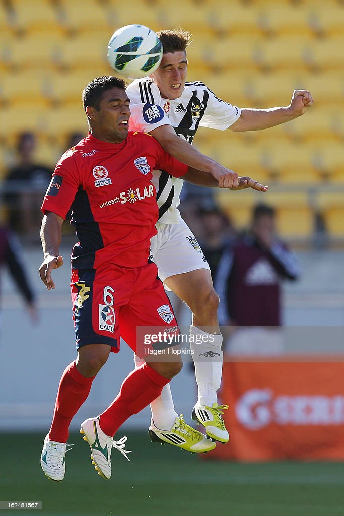 Cassio of Adelaide and Louis Fenton of the Phoenix compete for a header during the round 22 A-League match between the Wellington Phoenix and Adelaide United at Westpac Stadium on February 24, 2013 in Wellington, New Zealand.