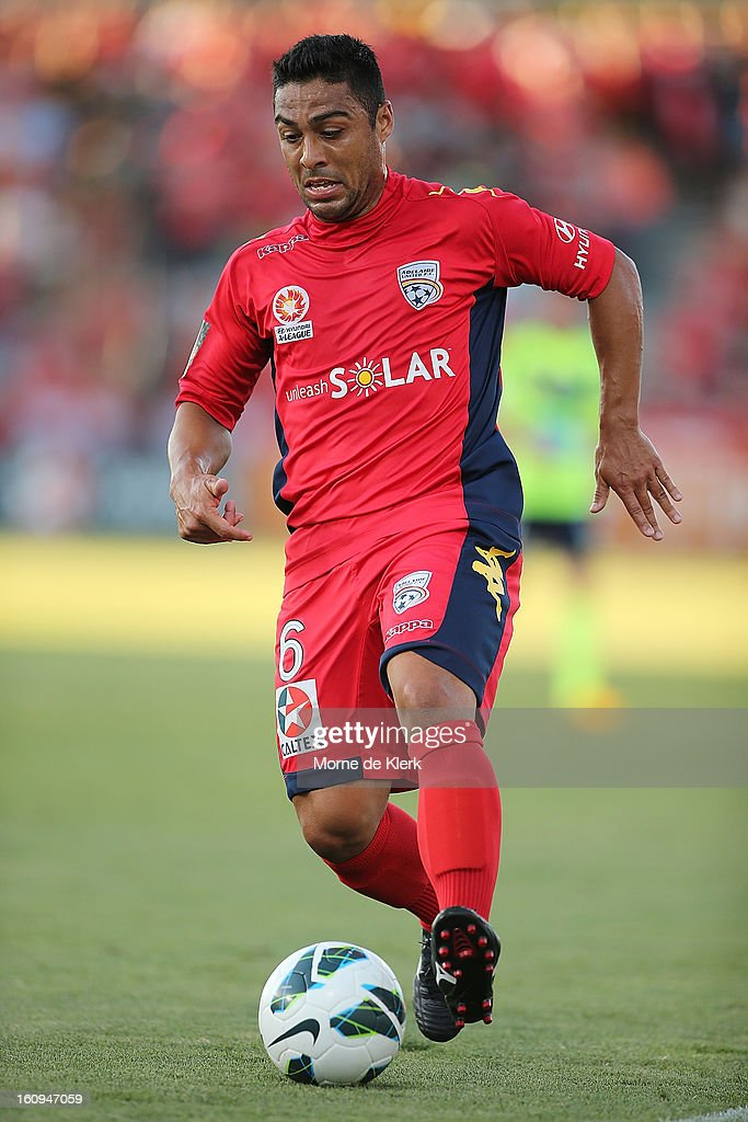 Cassio of Adelaide runs with the ball during the round 20 A-League match between Adelaide United and the Melbourne Victory at Hindmarsh Stadium on February 8, 2013 in Adelaide, Australia.