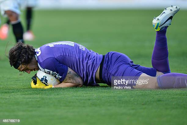 Cassio of Corinthians during a match between Atletico MG and Corinthians as part of Brasileirao Series A 2014 at Parque do Sabia stadium on april 20...
