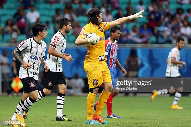 Cassio of Corinthians in action during the match between Bahia and Corinthians as part of Brasileirao Series A 2014 at Arena Fonte Nova on November...