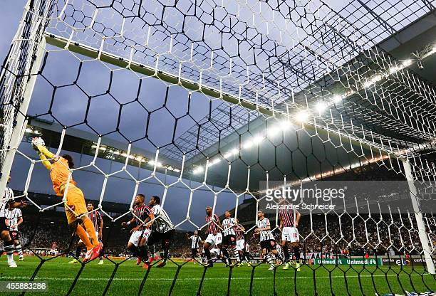 Cassio of Corinthians in action during the match between Corinthians and Sao Paulo for the Brazilian Series A 2014 at Arena Corinthians on September...